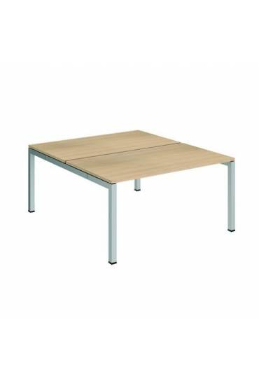 Conjunto 2 mesas rectas 140 roble aluminio arko