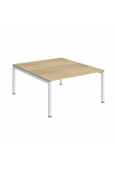 Conjunto 2 mesas rectas 140 roble blanco arko