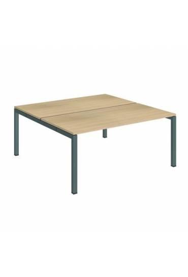 Conjunto 2 mesas rectas 160 roble antracita arko