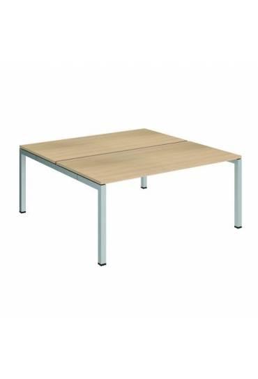 Conjunto 2 mesas rectas 160 roble aluminio arko