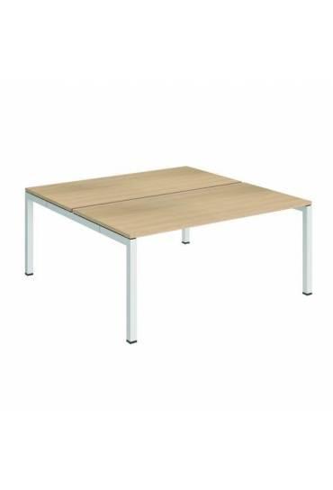 Conjunto 2 mesas rectas 160 roble blanco arko