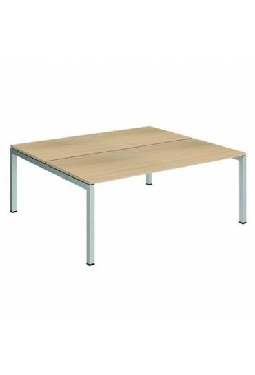 Conjunto 2 mesas rectas 180 roble aluminio arko