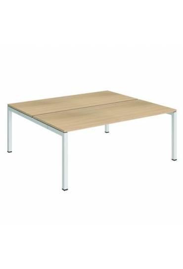 Conjunto 2 mesas rectas 180 roble blanco arko