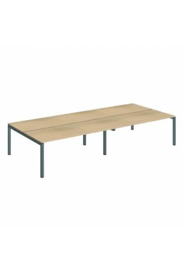 Conjunto 4 mesas rectas 180 roble antracita arko