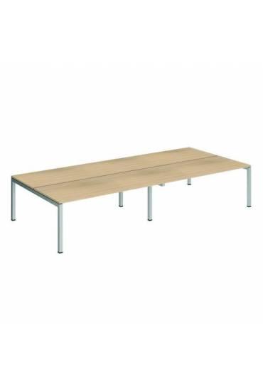Conjunto 4 mesas rectas 180 roble aluminio arko