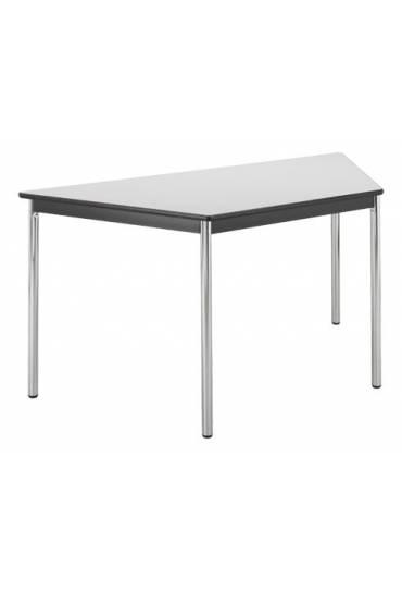 Mesa trapezoidal Confort gris patas cromadas