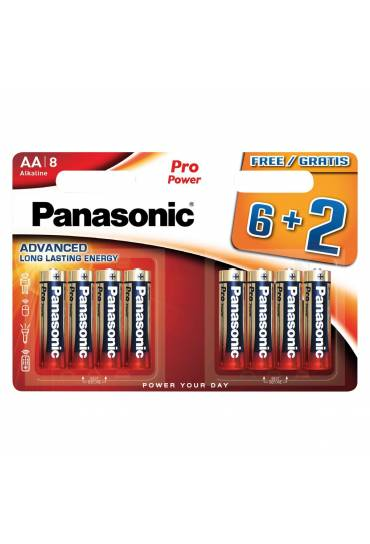 Blister 8 pilas Panasonic (6+2) Pro Power LR6 AA