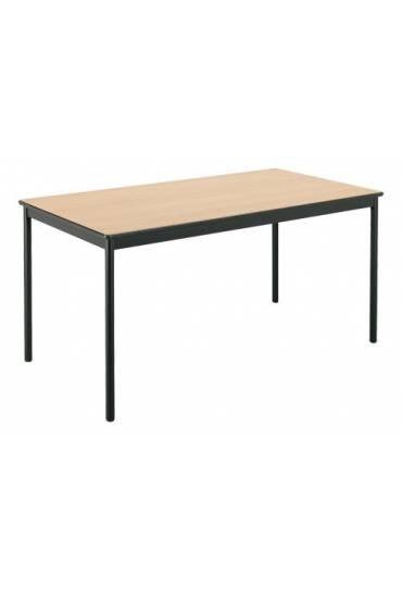 Mesa rectangular Confort 140 haya patas negra