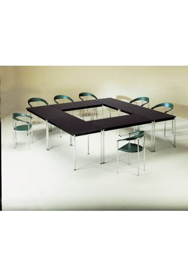 Mesa rectangular Confort 140 negra patas cromadas