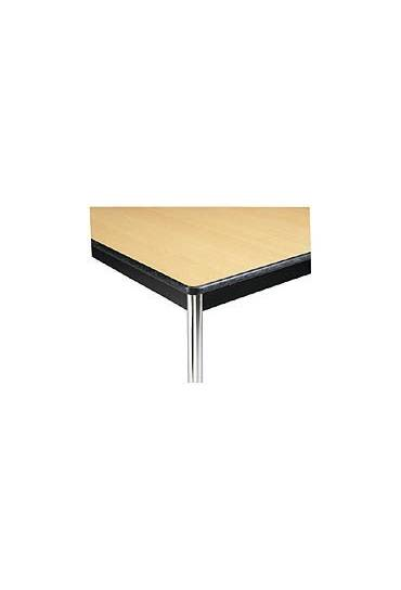 Mesa trapezoidal Confort haya patas cromadas