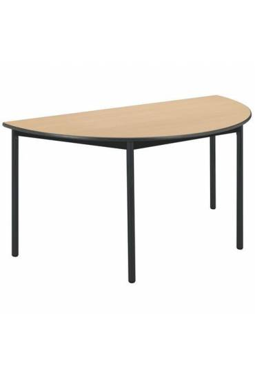 Mesa semirredondo Confort haya patas negras