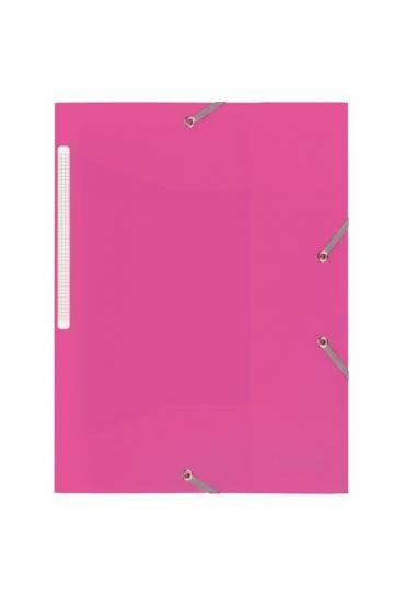 Carpeta polipropileno con gomas 3 solapas  rosa