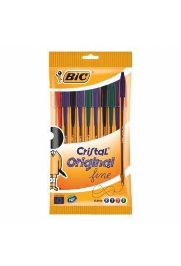 Boligrafo bic cristal fine bolsa 10 surtidos