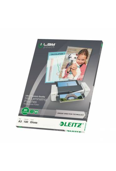 Fundas plastificar A3 80 mc Leitz  ILAM caja 100