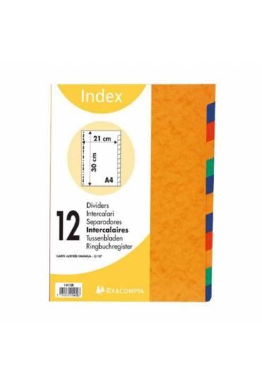 Juego 12 separadores Exacompta A4 225gr colores in