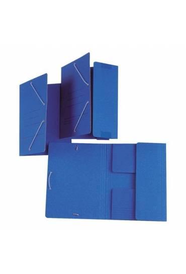 Carpeta con goma folio solapas azul