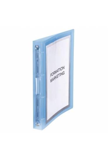 Carpeta 4 anillas 3,5 cm PP personalizable azul