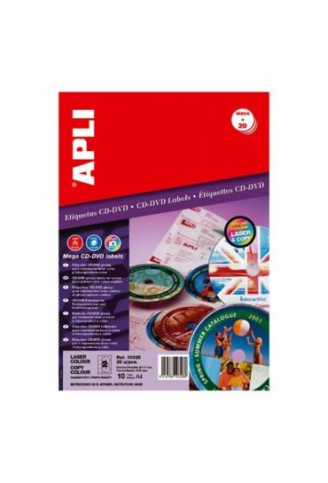 Etiquetas CD-DVD calidad foto Apli 20 hojas