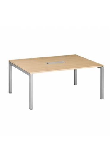 Mesa reunion roble 4 pies aluminio 72 x160 x 120 A