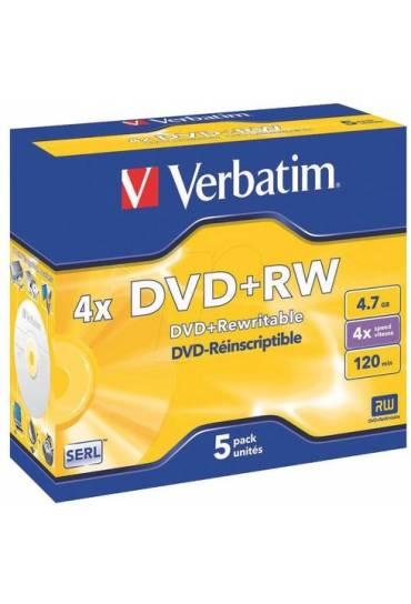 Pack 5 Dvd+Rw 4x 4.7Gb 120min.verbatim