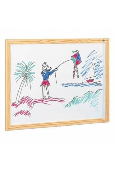 Pizarra blanca estratificada marco madera 65x84