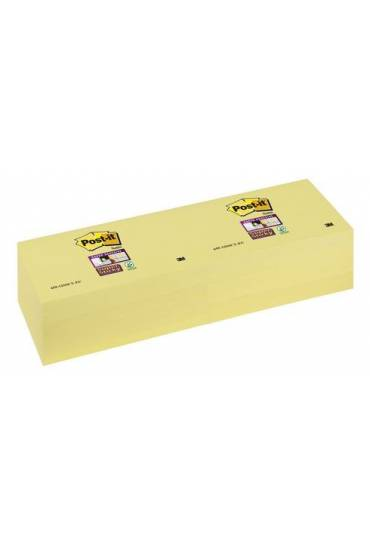 Bloc notas Post-it amarillo 76x127 Supersticky