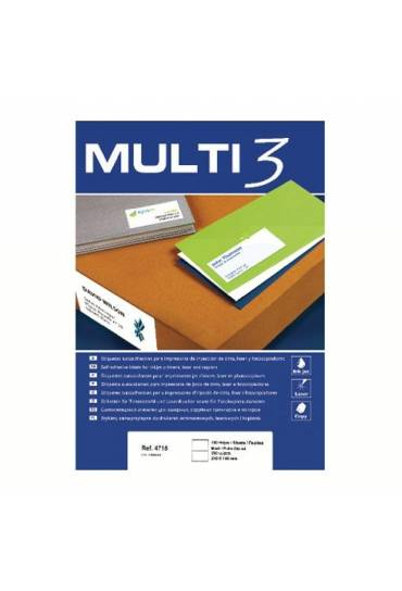 Etiquetas multifuncion Multi3 64,6x33,8 caja 100h