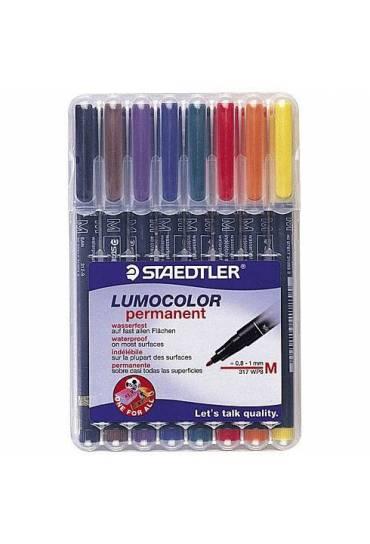Estuche 8 rotuladores Staedtler Lumocolor M