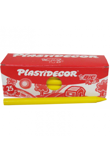 Caja 25 ceras plastidecor Bic Kids color amarillo