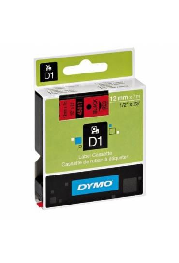 Cinta Dymo D1 12 mm x 7m negro sobre rojo 45017