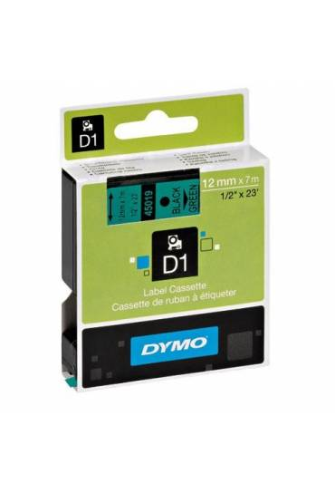 Cinta Dymo D1 12 mm x7 m negro sobre verde 45019