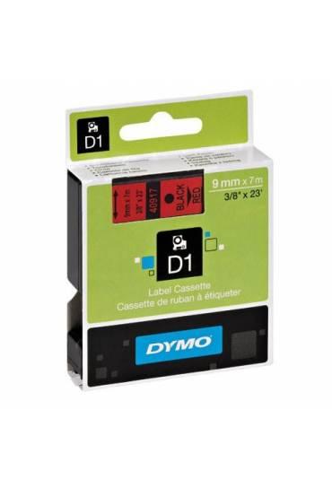 Cinta Dymo D1 9 mm x 7m negro sobre rojo