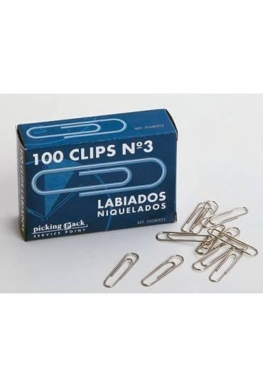 Caja 100 clips labiados niquelados nº1,5