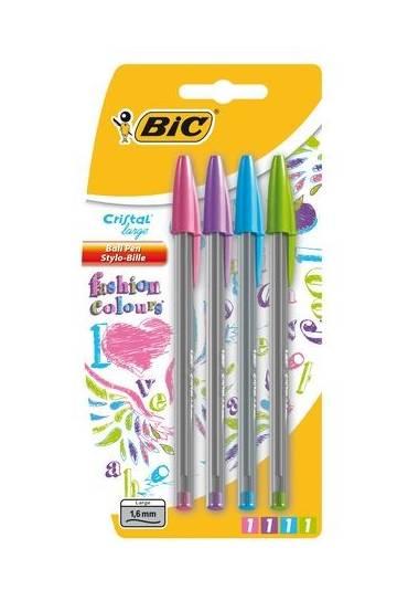 Boligrafo bic cristal fun estuche 4 colores