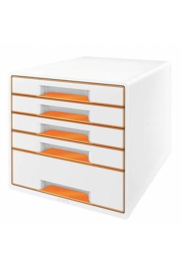 Organizador Modulo 5 cajones wow blanco naranja