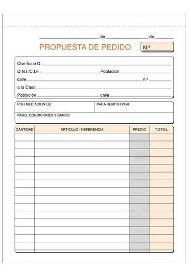 Talonario pedidos 150x210  castellano
