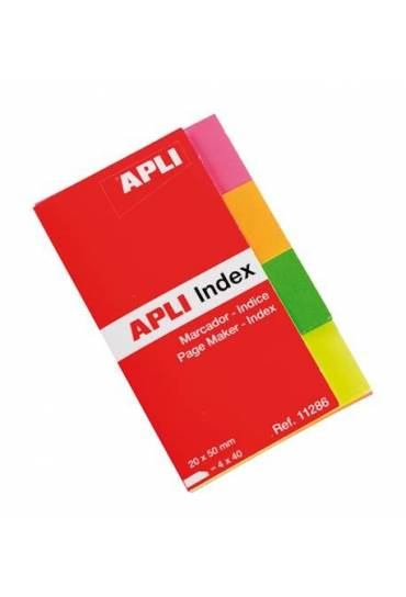 Marcapaginas papel adhesivas 4 colores neon Apli