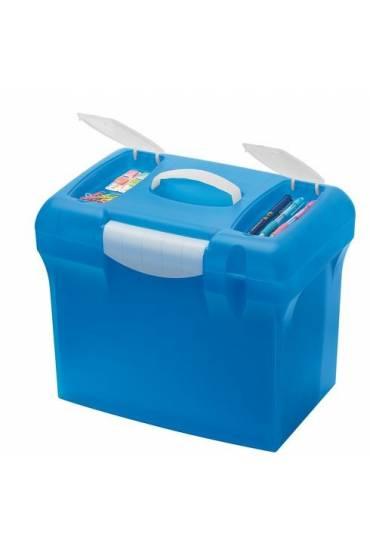 Caja polipropileno azul con 5 carpetas colgantes A