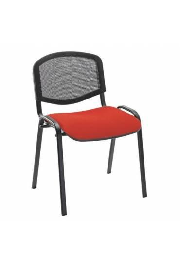 Silla conferencia malla rojo 4 patas