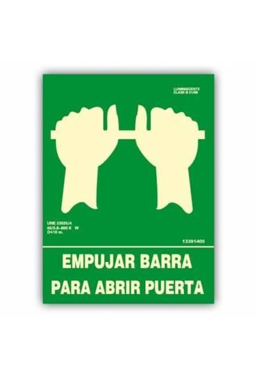 "Señal ""Empujar Barra para Abrir la Puerta"" 22x30cm"