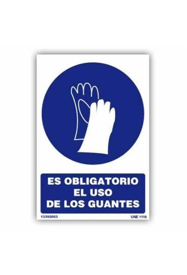 """Señal """" Es Obligatorio el Uso de Guantes """" PVC 21x"""