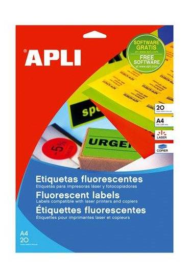 Etiquetas fluor 105x37 Amarillo Apli 01595 20h