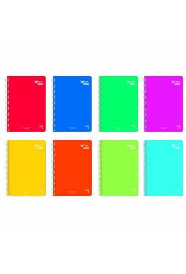 Cuaderno Pacsa Xtra 1/4 60gr 80h rallado surtido