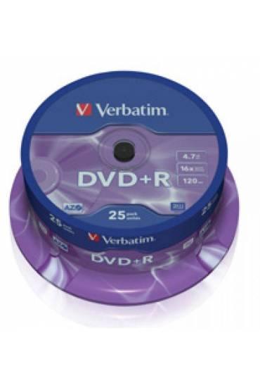 Bobina 25 DVD+R Verbatim 4,7Gb 16x canon incluido