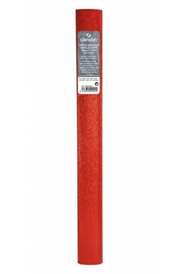Papel crespon Canson  50x250 metalizado rojo 24