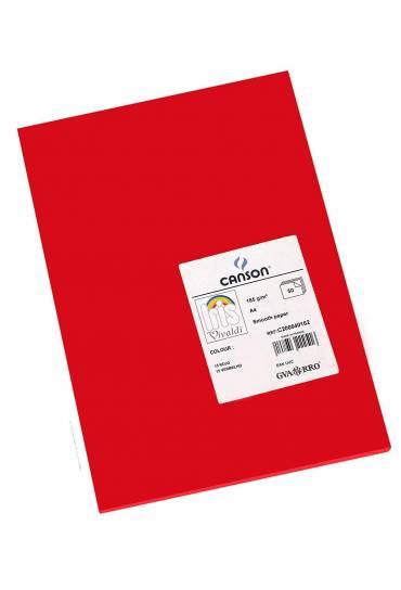 Cartulina A4 Iris 185g rojo 50 unds