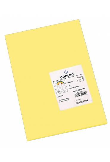 Cartulina A4 Iris 185g  amarillo limon 50 unds