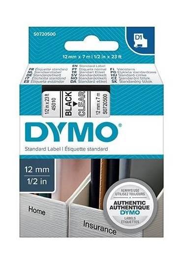 Cinta Dymo D1 12mm x7m Negro/Transparente 45010