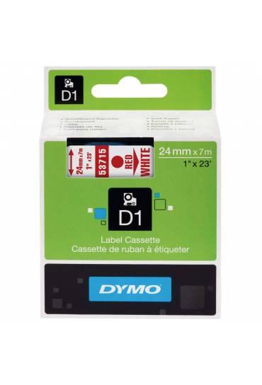 Cinta Dymo D1 24mm x 7m rojo/blanco 53715