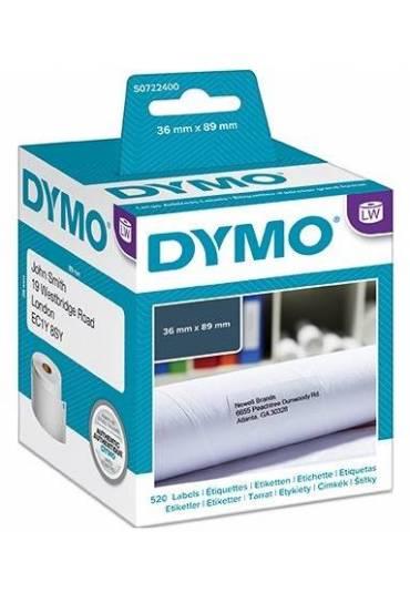 Caja 2 rollos 130 etiquetas Dymo LW 36x89mm